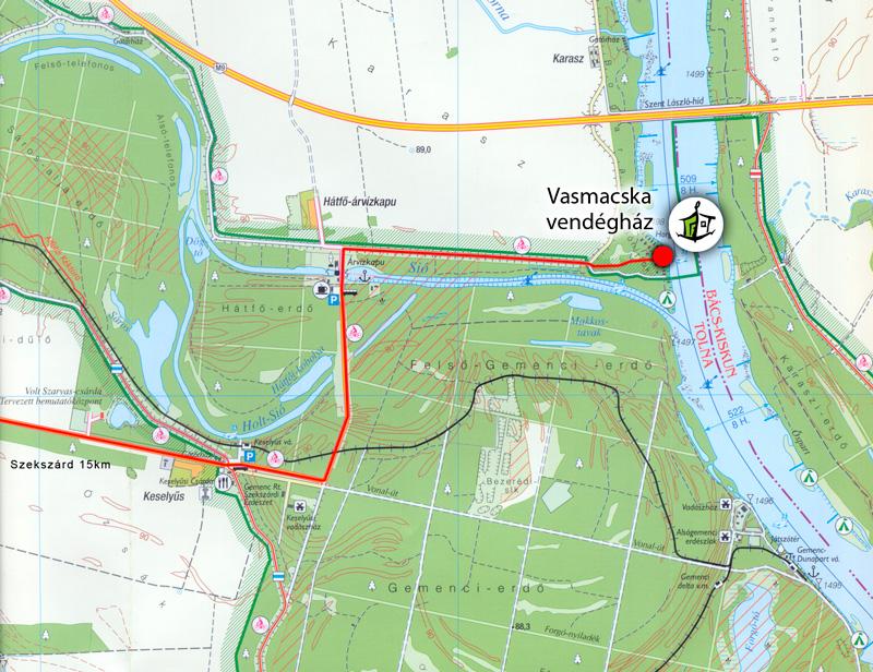 gemenc kerékpárút térkép VASMACSKA vendégház   gemenc